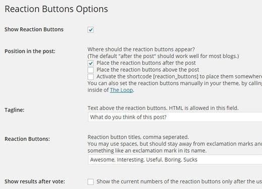 Настройка кнопок реакции