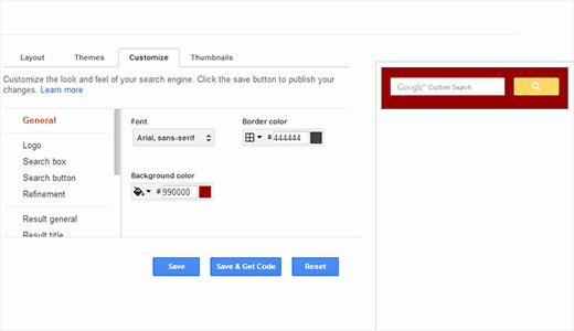 Настройка цвета и внешний вид пользовательского поиска Google