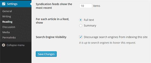Параметры поиска видимости в WordPress