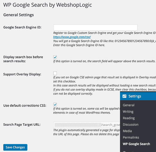Параметры страницы для WP Google Search