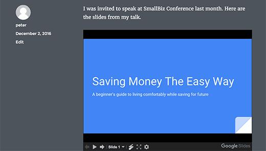 Предварительный просмотр презентации Google Слайды в WordPress