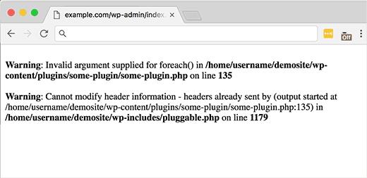 Пример ошибки в файле pluggable.php
