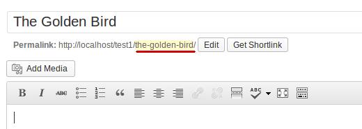 Slug появляться в URL в области редактирования поста