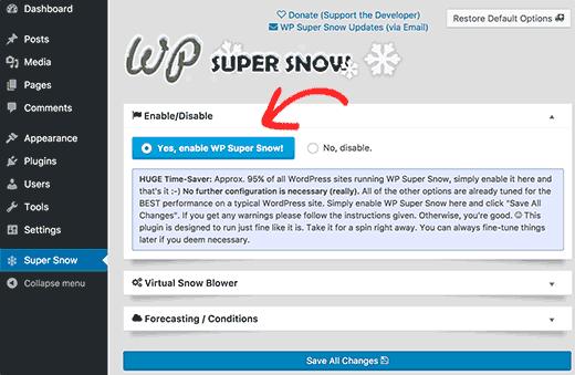 Страница настройки WP Super Snow