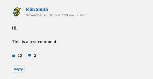 WordPress комментарий с кнопками нравится и не нравится