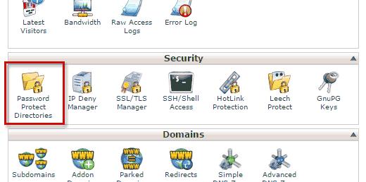 Защита паролем сайта WordPress при использовании Cpanel