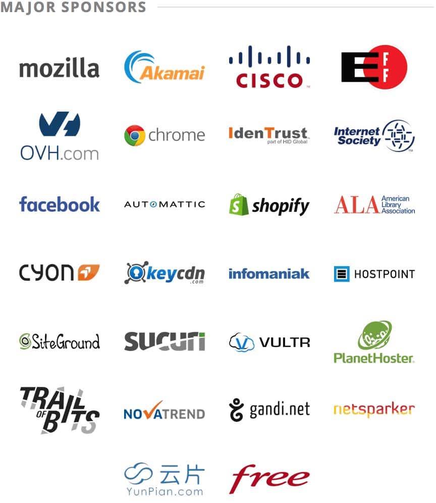 Спонсоры сертификата Let's Encrypt