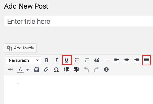 текстовые кнопки подчеркивания и выравнивания добавлены назад в редактор постов WordPress