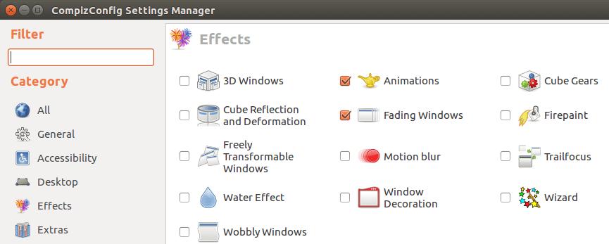 Отключить эффекты, чтобы сделать Ubuntu быстрее