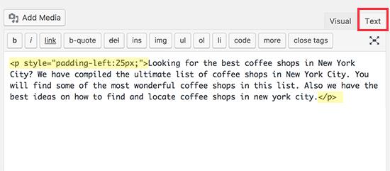 Отступ абзацев вручную с помощью встроенного CSS