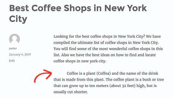 Отступ только первая строка абзаца в WordPress