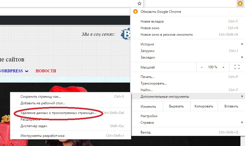 Удаление данных о просмотренных в Google Chrome