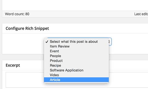 Выберите тип содержимого, чтобы добавить богатые фрагменты в WordPress пост