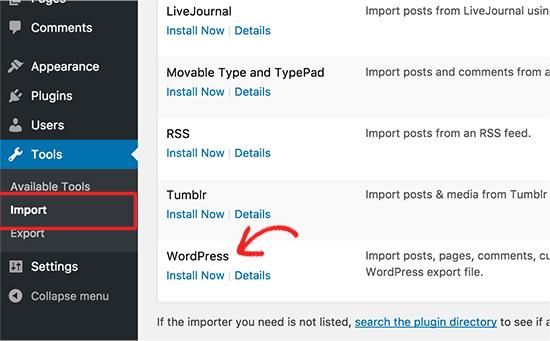 Установить импортер WordPress