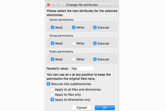 Исправление разрешений для папки в WordPress