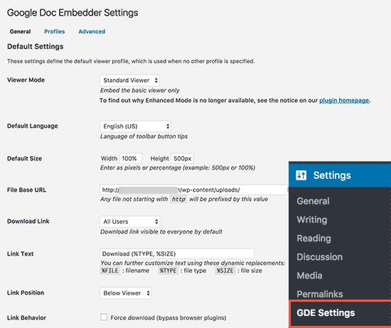 Настройки Google Docs Embedder