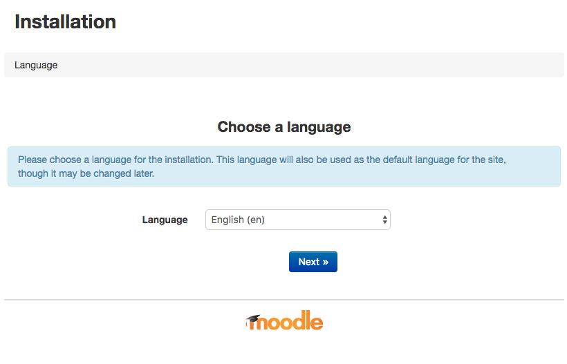 Первый экран установки Moodle