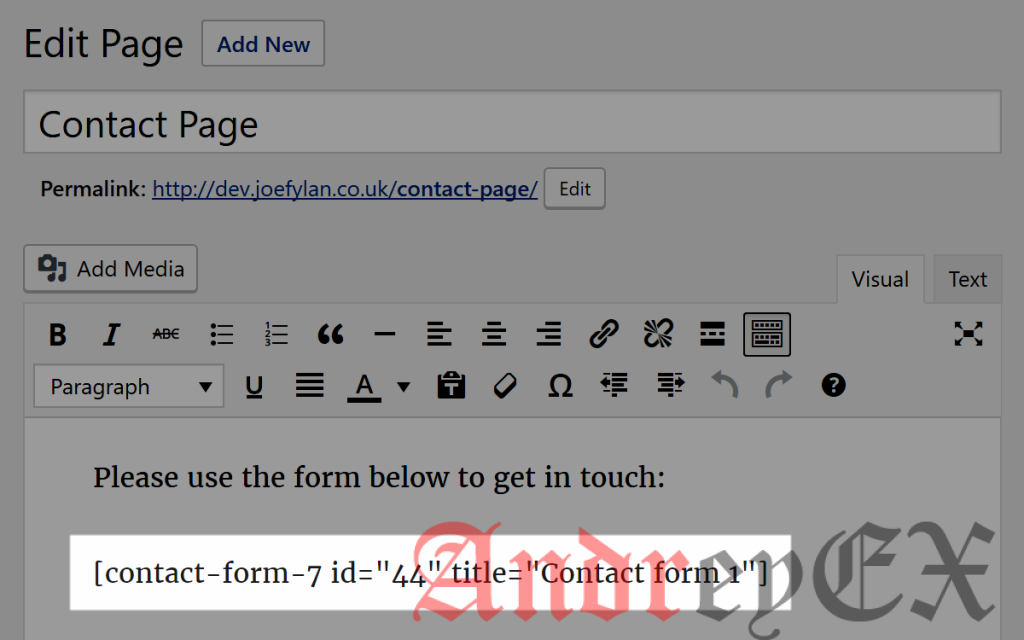 Шорткод Contact Form 7 на странице в WordPress
