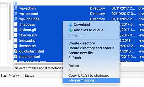 Установка разрешений для всех файлов