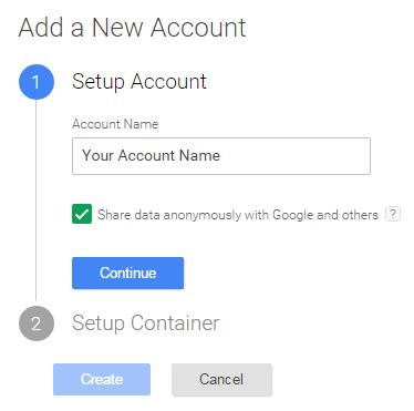 Экран настройки учетной записи Google Tag Manager