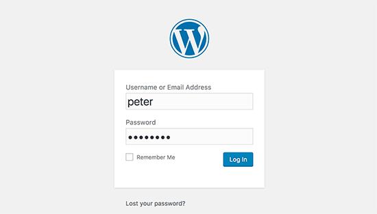 Логин экрана WordPress