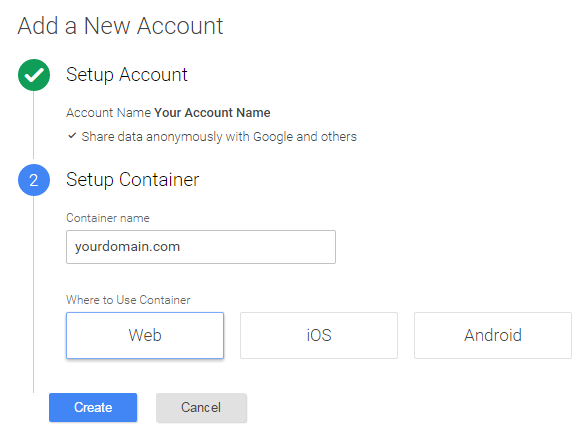 Настройка контейнера Google Tag Manager