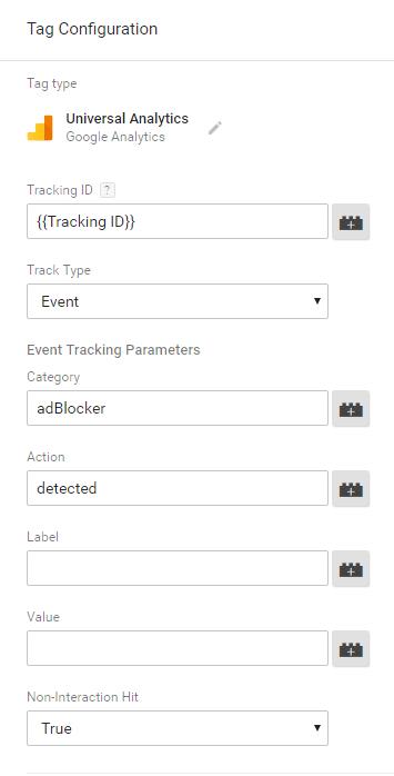 Настройки тегов AdBlocker в GTM