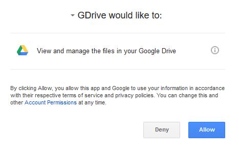 Разрешение доступа на GDrive