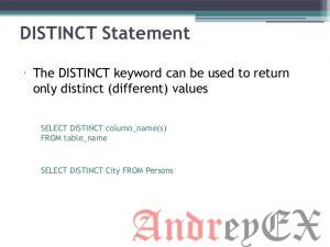 SQL - ключевое слово Distinct