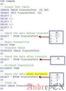 SQL - команда TRUNCATE TABLE