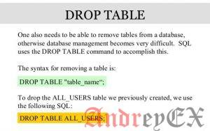 SQL - удаление таблиц