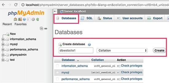 Создание базы данных MySQL для локального сайта WordPress