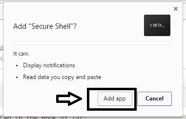 подключения сервера с помощью веб-браузера Chrome