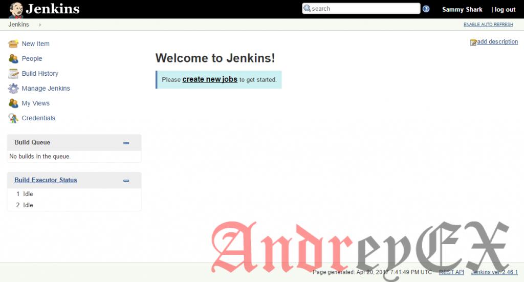 Добро пожаловать на экран Jenkins