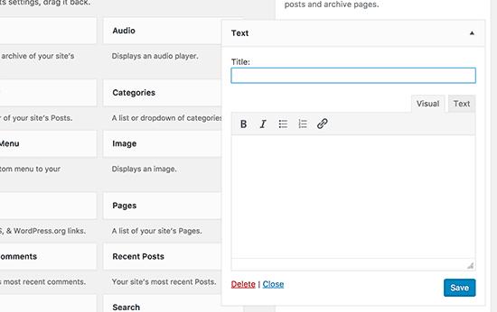 Новый текстовый виджет в новом WordPress 4.8 с визуальным и текстовым редактором