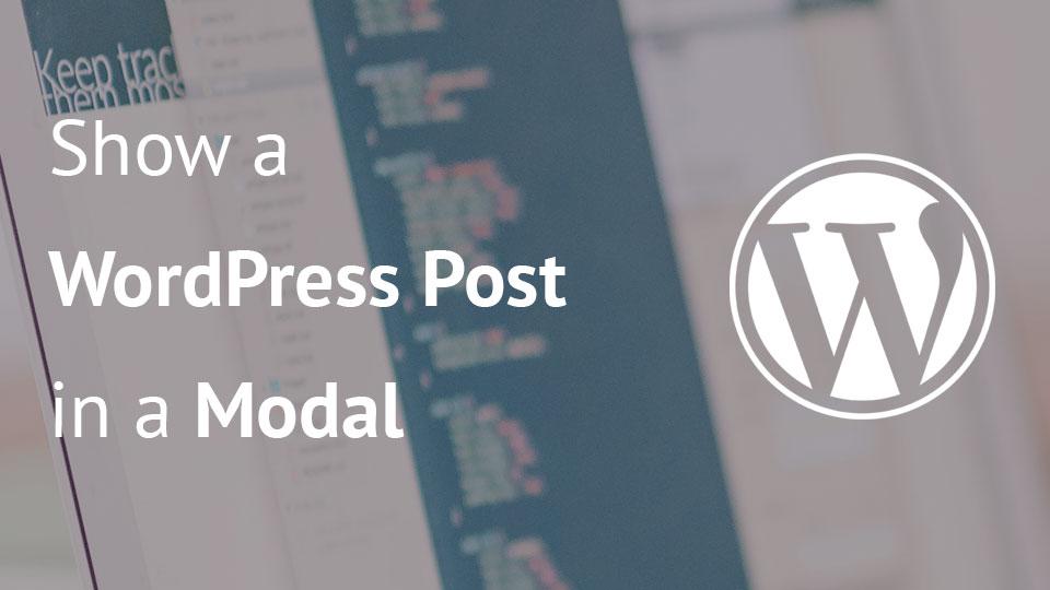 Покажите модальное окно в посте WordPress