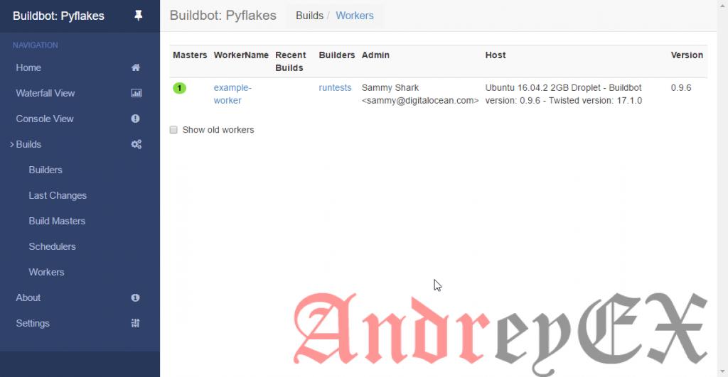 Скриншот экрана рабочей области в BuildBot