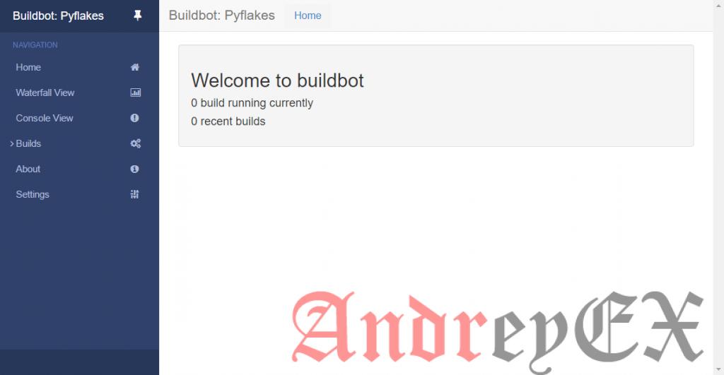 Снимок экрана: экран приветствия в BuildBot