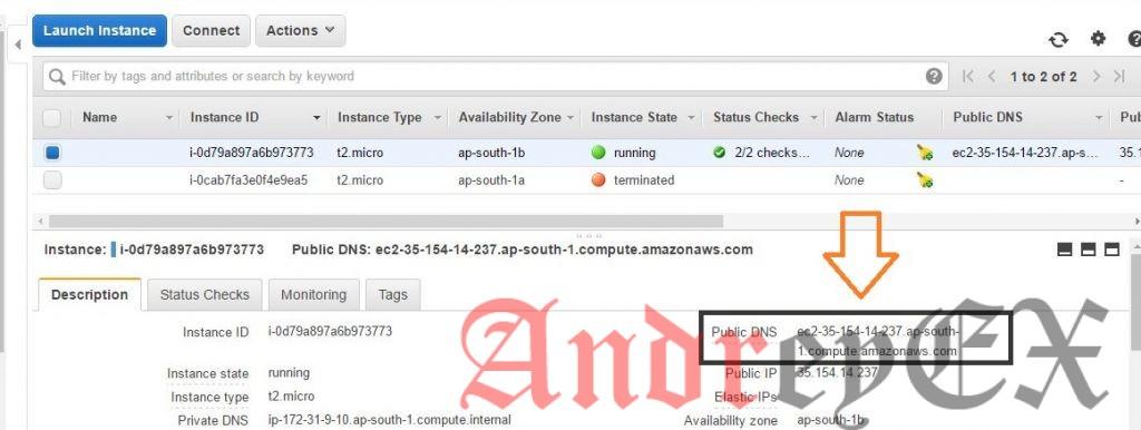 Создать свободный сервер на AWS
