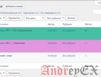 Как добавить цвета BGS для администратора в таблице постов в WordPress