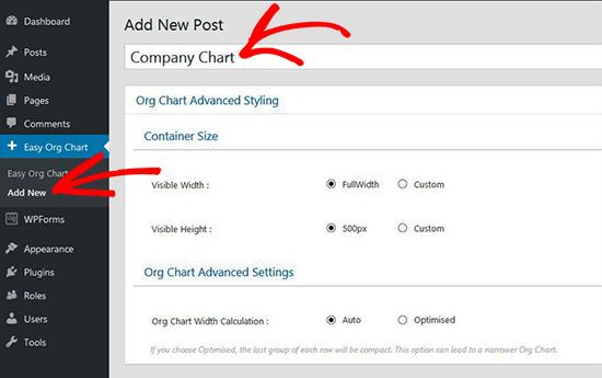 Как создать свою диаграмму компании в WordPress