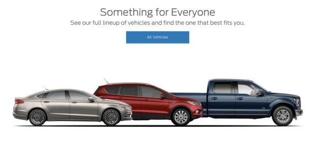 Ford.com- хороший пример веб-сайта, который напрямую обращается к его посетителям.Посетитель всегда является предметом их написания.