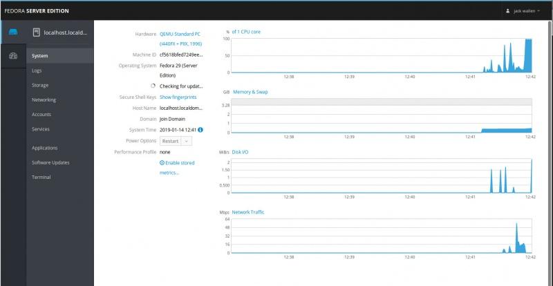 Топ 5 дистрибутивов Linux-серверов. Рисунок 2: Кабина, работающая на Fedora Server.