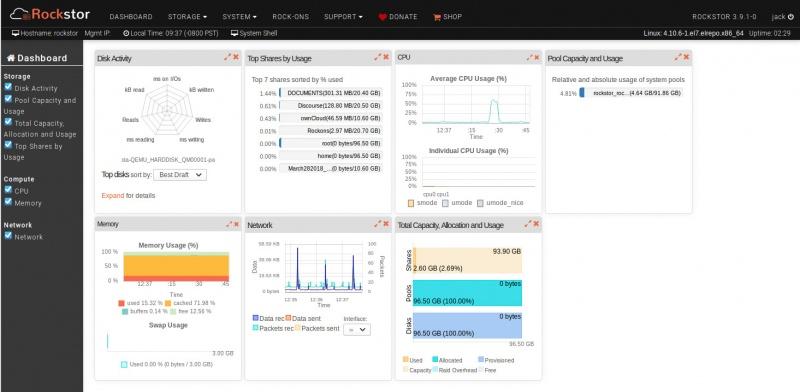 Топ 5 дистрибутивов Linux-серверов. Панель инструментов Rockstor в действии.